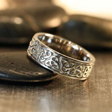 trinity celtic knot wedding band  white gold unique