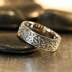 trinity celtic knot wedding band 14k white gold unique With mens unique wedding rings