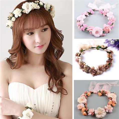 beach party crown bride wedding headband boho floral