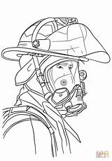 Firefighter Coloring Portrait Fire Drawing Fireman Fighter Printable Department Paper Crafts Through sketch template