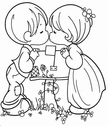Precious Kissing Moments Couple Coloring Pages Kiss