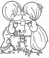 Precious Moments Kissing Couple Coloring Pages Kiss Printable Boy 為孩子�的�色頁 sketch template