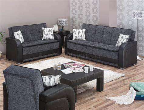 oklahoma sofa bed  grey fabric black vinyl woptions