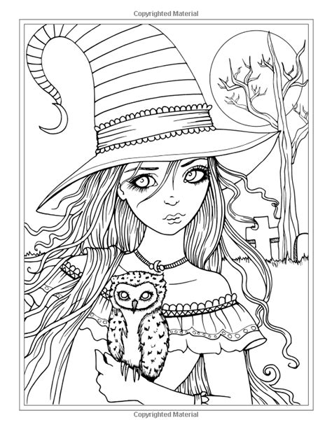 Autumn Fantasy Coloring Book - Halloween Witches, Vampires