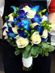 Blue Green and White Flower Bouquets