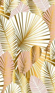 Gold Tropical Palm And Monstera Leaf Wallpaper - Buy Online