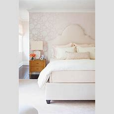 White Bedroom With Schumacher Manor Gate Silver Wallpaper