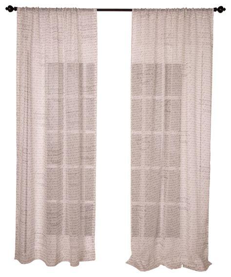 text print ecru sheer linen curtain panel contemporary