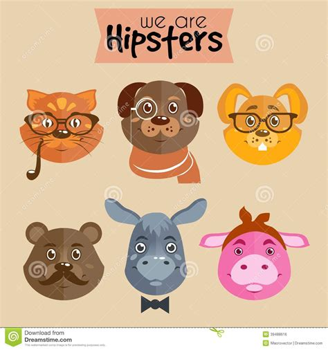collection  hipster cartoon character animals stock