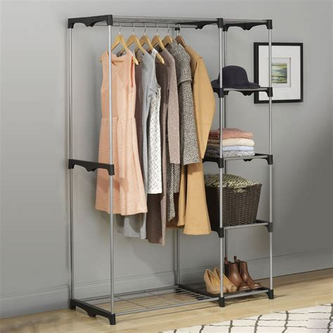 standing closet rack rod freestanding portable clothes closet
