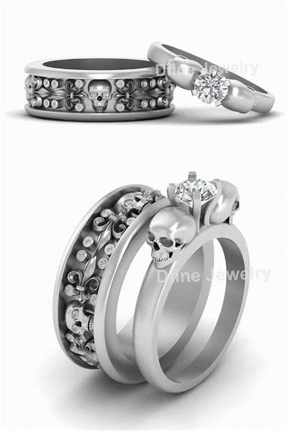 Rings Ring Skull Matching Couple Hers His