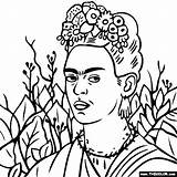 Frida Kahlo Coloring Pages Portrait Self Paintings Famous Necklace Colouring Thorn Thecolor Painting Google Outline Adult Picasso Portraits Drawings Printable sketch template