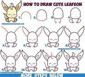 How to Draw Cute Kawaii Chibi Leafeon from Pokemon Easy ...