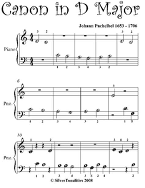 canon   beginner piano sheet    johann