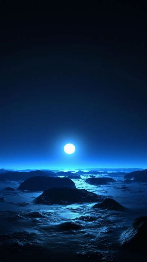 hdwallpaperscom  rocky shore moon light
