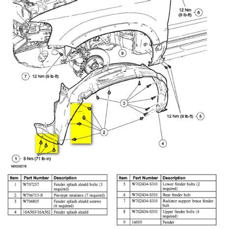 service manual  ford escape font fender removal