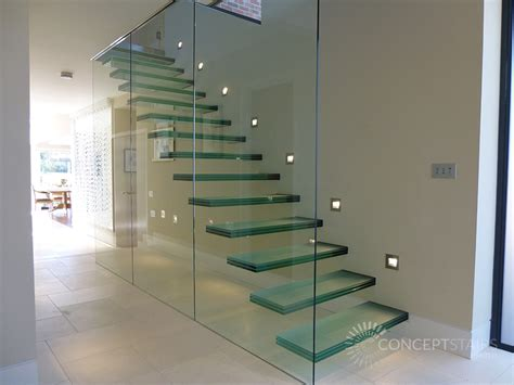 stairs lighting floating glass cantilever feature staircases glass
