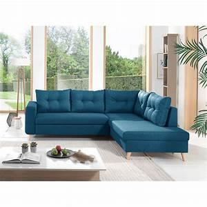 Canapé Angle Convertible Bleu : canap d 39 angle 5 places scandinave convertible tissu bleu canard canap salon meuble gifi ~ Melissatoandfro.com Idées de Décoration