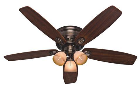 hunter low profile ceiling fan with light hunter 52 quot low profile iv plus ceiling fan 23908 in