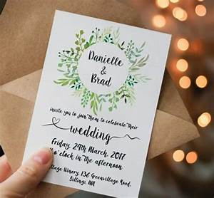 printable green wedding invitation printable greenery With greenery wedding invitations free