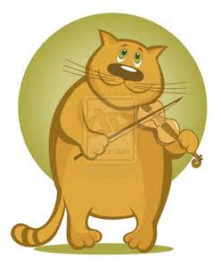 Cartoon Cat Playing Violin