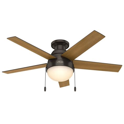 hunter low profile ceiling fan with light hunter anslee 46 in indoor low profile premier bronze