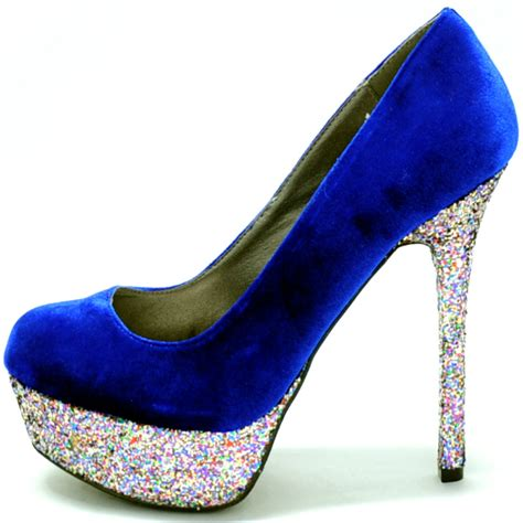 royal blue  silver heels fs heel