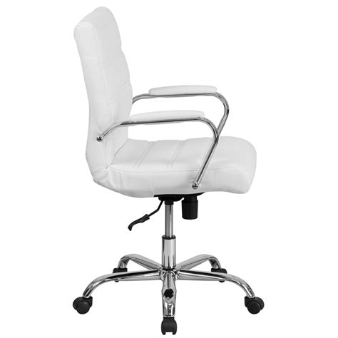 mid back white leather executive swivel chair with chrome