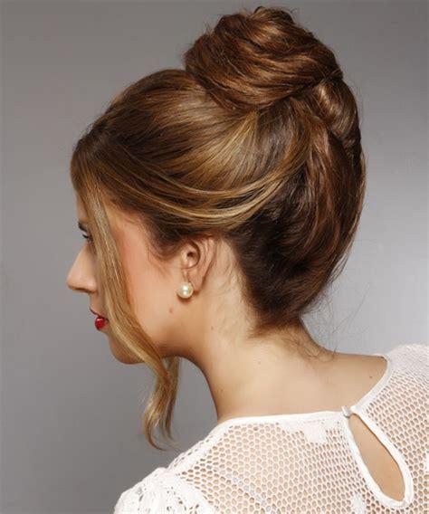 long straight dark brunette updo  brunette highlights