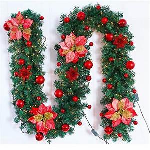 2, 7m, Christmas, Decor, Ornaments, Christmas, Tree, Garland, Rattan, Bows, Cane, Home, Wall, Pine