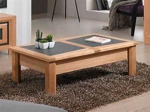 Table De Salon Bois : table de salon parme avec plateau bois et c ramique meubles bois massif ~ Teatrodelosmanantiales.com Idées de Décoration