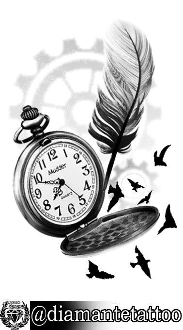 Reloj con pluma y pájaros. Diseño para tatuaje realista en