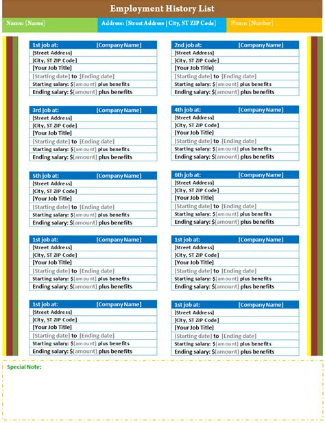employment history list template dotxes