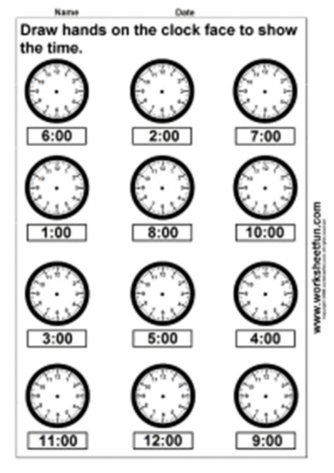 time draw hands   clock face  worksheets