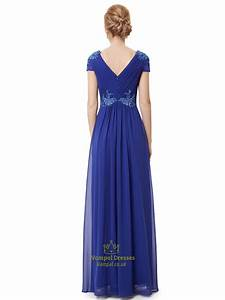 Royal Blue Cap Sleeve Chiffon Prom Dress With Applique ...