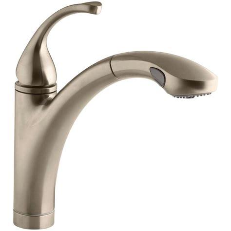 kohler bronze kitchen faucets kohler forte single handle pull out sprayer kitchen faucet in vibrant brushed bronze k 10433 bv