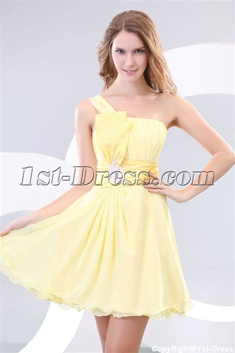 Yellow One Shoulder Short Pretty Graduation Dresses:1st dress.com