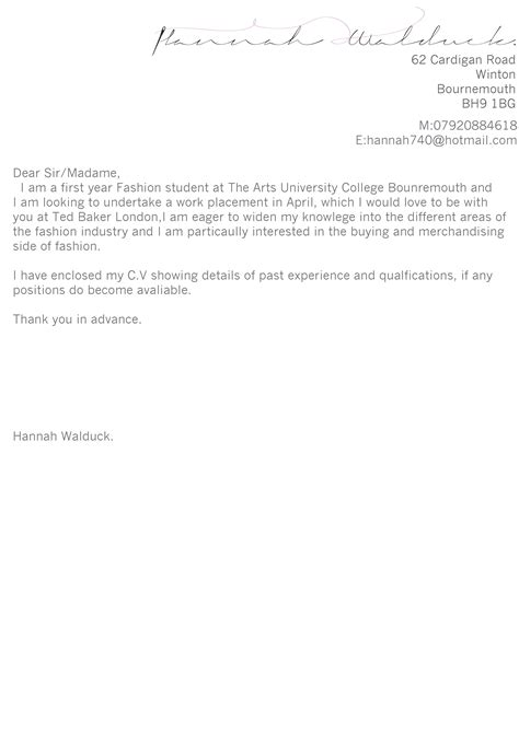 Letter To Accompany Curriculum Vitae by Uncategorized When In Doubt Wear