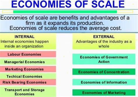 types  internal economies  scale  production