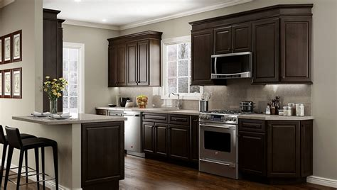 white and espresso kitchen cabinets quincy espresso kitchen cabinets 1735