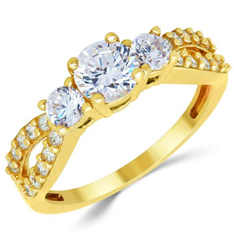 14k solid yellow gold cz cubic zirconia three stone engagement ring ebay