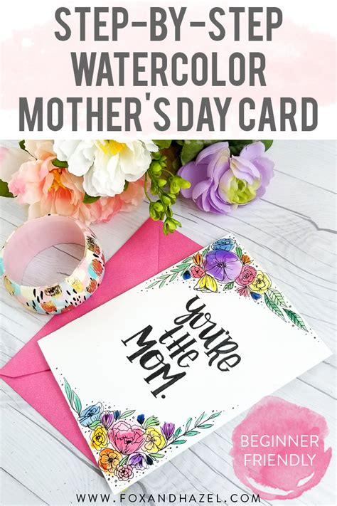 easy step by step watercolor mother s day card fox hazel