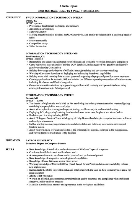 Information Technology Resume by Information Technology Intern Resume Sles Velvet