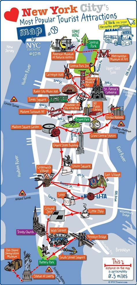 New York City Most Popular Attractions Map  Other Places