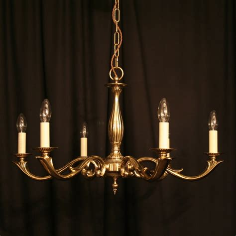 an cast brass 6 light antique chandelier 249007