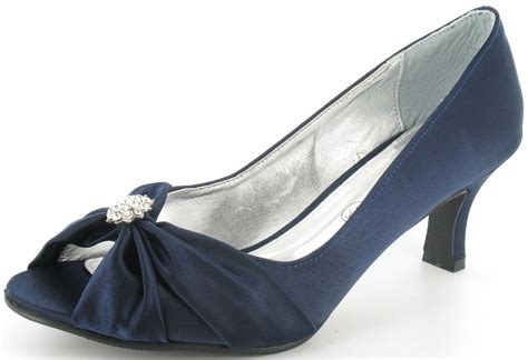 Navy Blue Wide Fitting Lexus Layla Kitten Heel Peep Toe