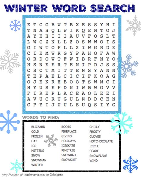 winter word search parents raise a reader