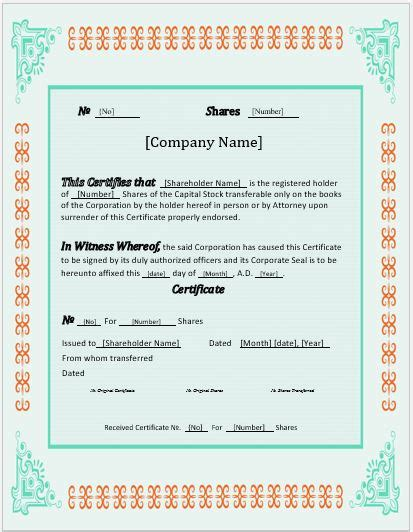 stock certificates  templates  ms word word