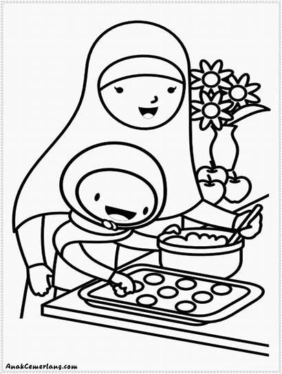 Ibu Gambar Anak Mewarnai Membantu Kue Membuat
