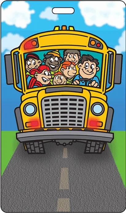 Bus Cartoon Tag Kid Lenticular Animation Luggage